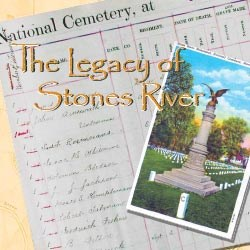 Postcard depicting the Regular Brigade Monument on top of a national cemetery burial log sheet.