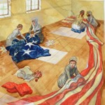 Gerry Embleton image of Mary Pickersgill sewing the flag, from the book In Full Glory Reflected