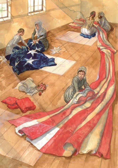 Illustration of five women sitting on a wood floor, sewing a large American flag.