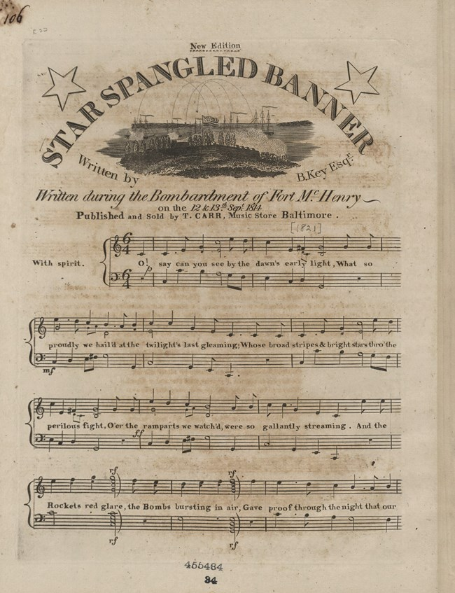 "Black and white image of sheet music with ""Star-Spangled Banner"" as the title."