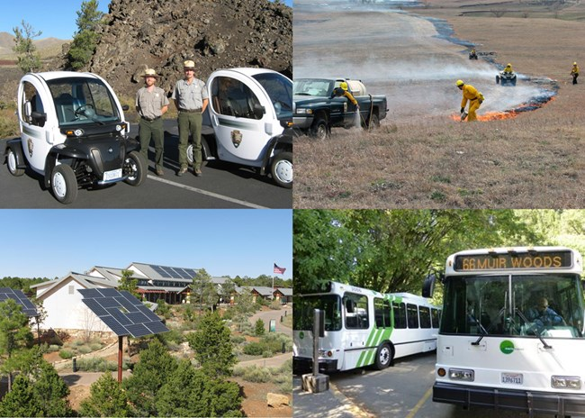 Photo collage of electric vehicles at Craters of the Moon NM & PRES, prescribed burn at Tallgrass Prairie National Preserve, solar panels on a visitor center at Grand Canyon NP, and shuttle buses at Muir Woods NM.