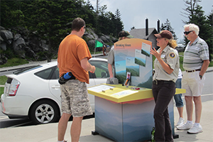 Photo of visitors talking to a park interpreter by a traveling air quality display at an overlook in Great Smoky Mountains NP.