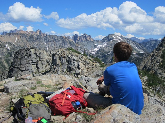 Visitor enjoying a view at Stephen Mather Wilderness, North Cascades NP.
