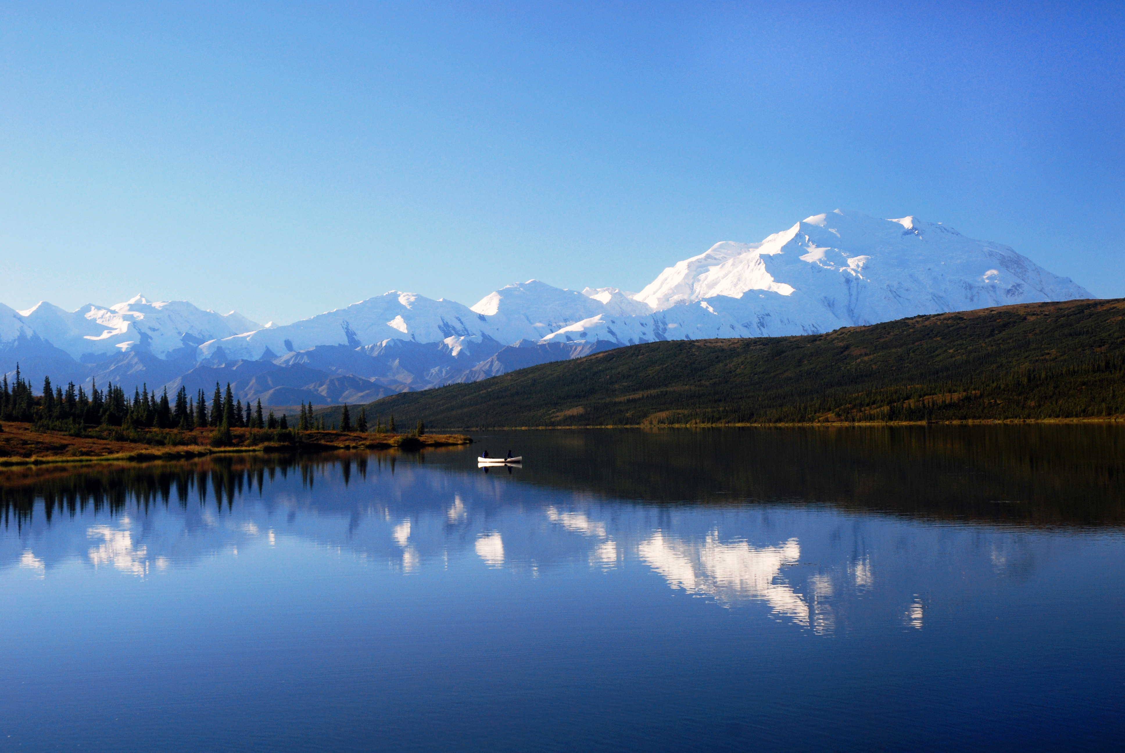 Mountains and lake in Denali National Park and Preserve, Alaska