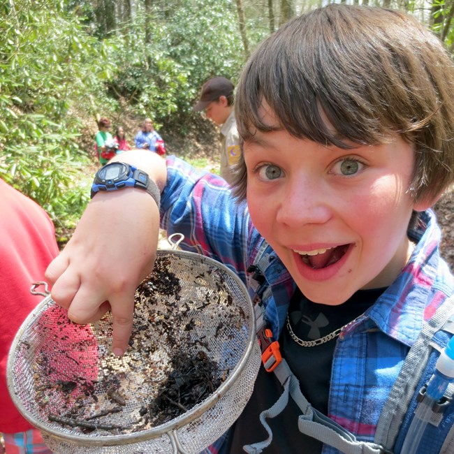 A boy holds up a sample of dragonfly larvae found at Great Smoky Mountains National Park
