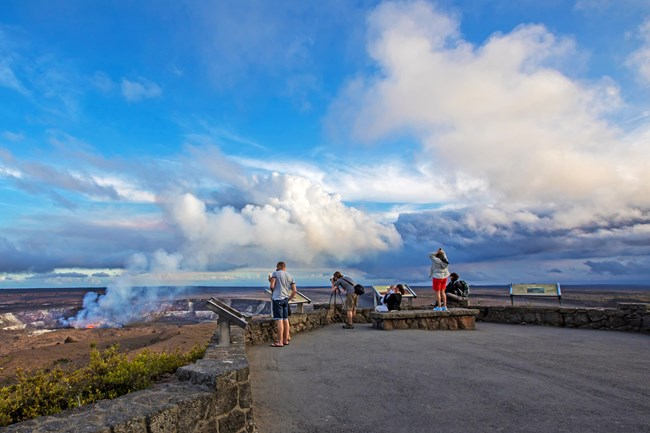 Visitors viewing the plume coming off lava lake Halema'uma'u