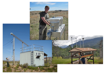 Collage of three photos showing air quality monitoring in parks.  Clockwise from left: ozone monitoring at Zion NP, Utah; N and S deposition monitoring at Wind Cave NP, South Dakota; and visibility monitoring at Sequoia NP, California.