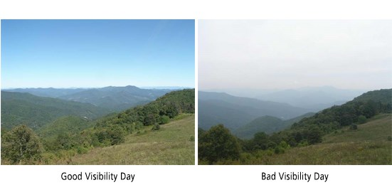 The difference between a good visibility day (left) and a bad visibility day (right) at Look Rook in Great Smoky Mountains National Park.