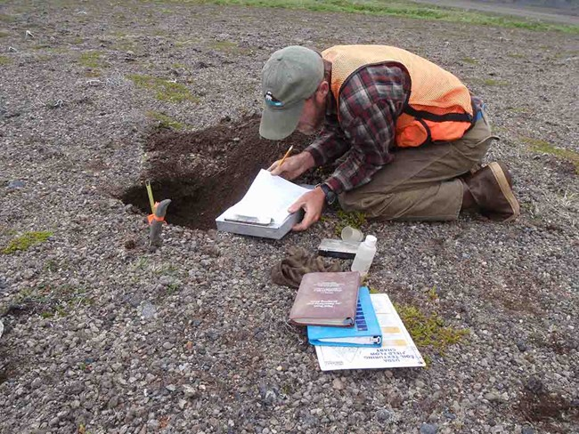 A scientist conducts a soil inventory.