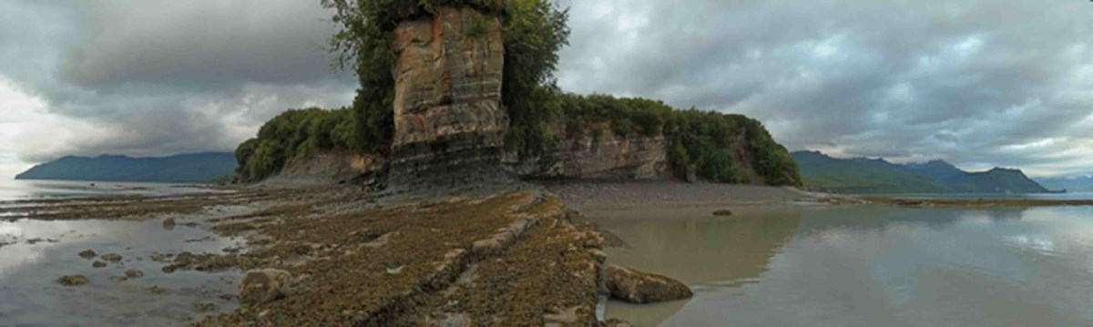 A panoramic shot of Fossil Point in Lake Clark National Park and Preserve.