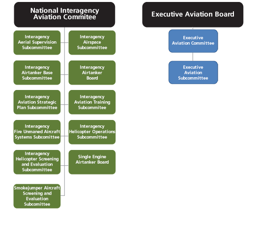 Organization chart for National Interagency Aviation Committee and Executive Aviation Board