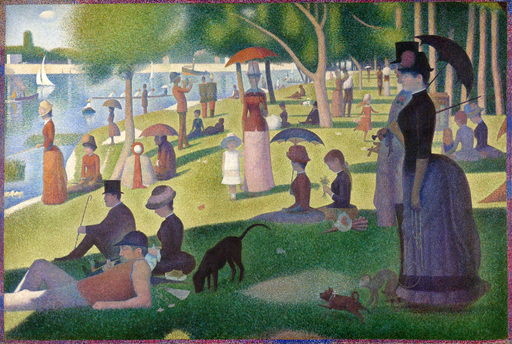 "Georges Seurat's ""A Sunday on the La Grande Jatte"", 1884, showing the use of many small dots to make up the whole piece."