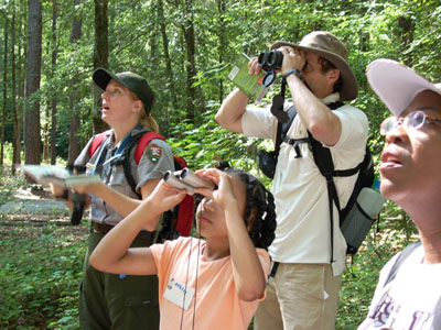 BioBlitz participant stand in amazement at Rock Creek Park