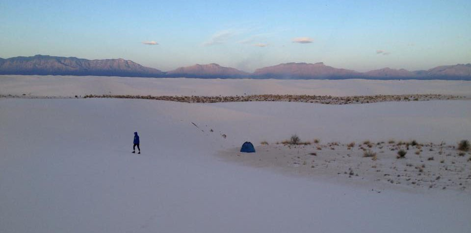 Sarah in the distance at White Sands National Monument in New Mexico