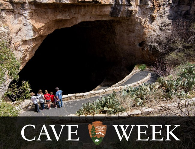 photo illustration with image of large cave opening and words, cave week
