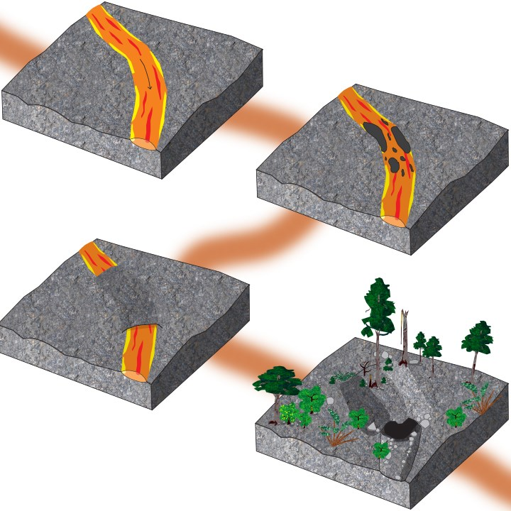 four diagrams: molten lava flows out of the ground, lava stream cools and hardens into a crust, lava inside is still molten and continues to flow, leaves an empty tunnel called a lava cave