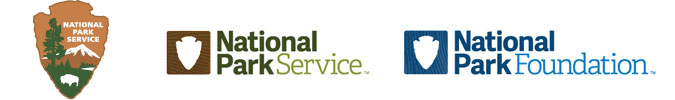 Three logos that are part of the National Park Service brand family