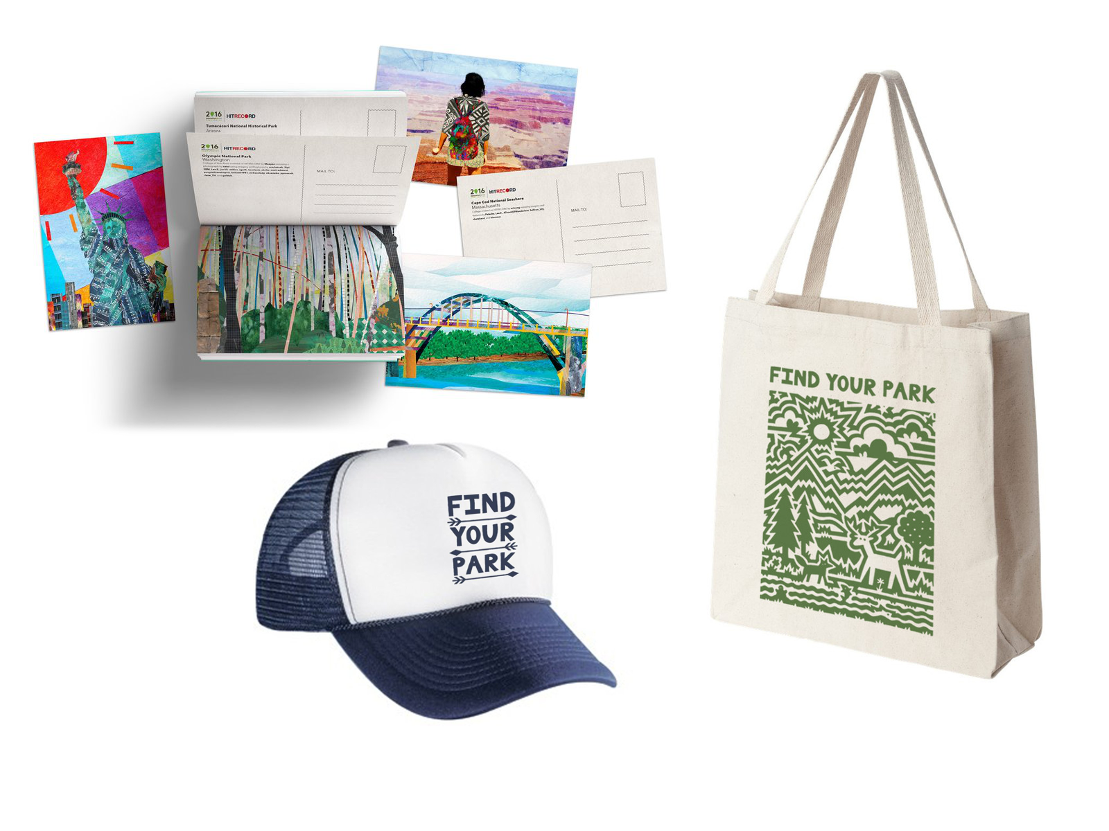 postcards, ballcap, and tote bag