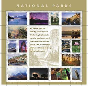 Panel of NPS Postage Stamps