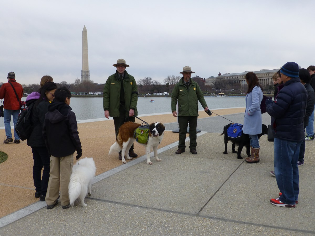 Rangers and visitors with dogs prepare for walk around the Memorials
