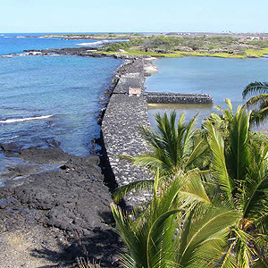 Fish pond wall along Hawaiian coast