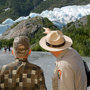 Ranger pointing at Exit Glacier
