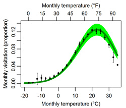 Line graph showing relationship between temperature and visitation