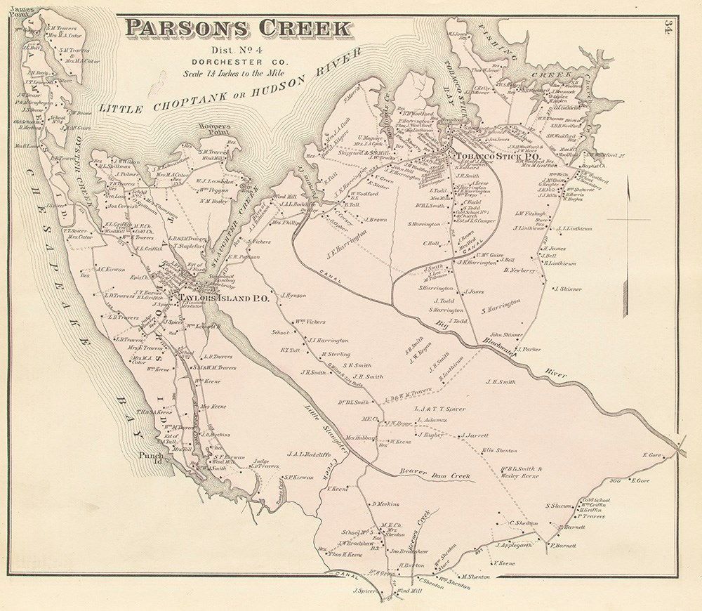 Parson's Creek map of land ownership show names of property owners on land between waterways