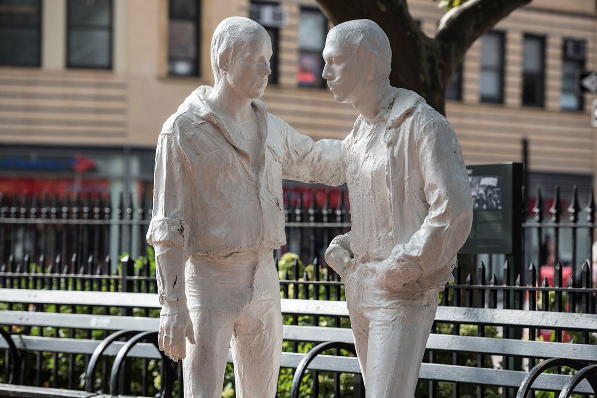 """Gay Liberation"" statue includes two standing figures, one with his hand on the other's shoulderr"