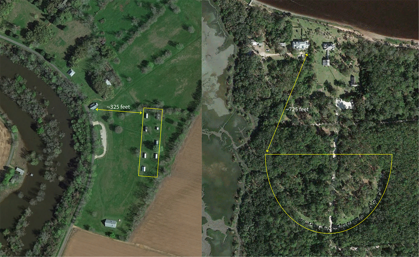 Two aerial images compare arrangement of slave cabins and relationship to main house at two plantations.