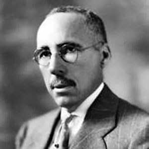 Portrait of David Williston: Slender African American man with short hair, mustache, glasses in a suit and tie.