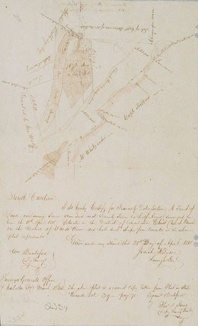 Drawn map and description of property