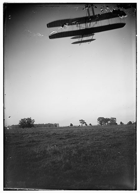 Rear view of flight 46, Orville flying at a high altitude over Huffman Prairie