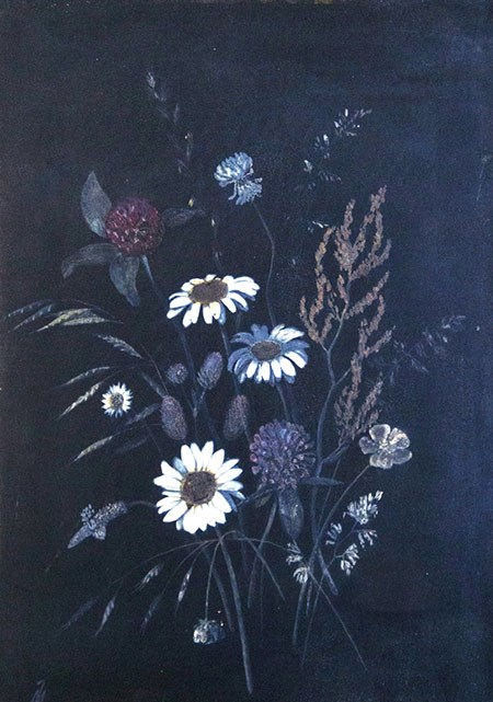 Painting of loose flowers on a dark background with daises, clover, and grasses.