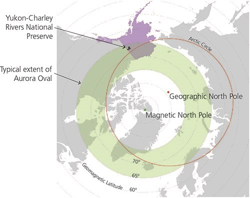 Diagram showing the polar region with Yukon-Charley and the area of aurora activity.