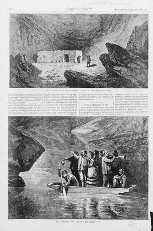 Page from 1877 Harper's Weekly with drawings and text showing tuberculosis patients in Mammoth Cave