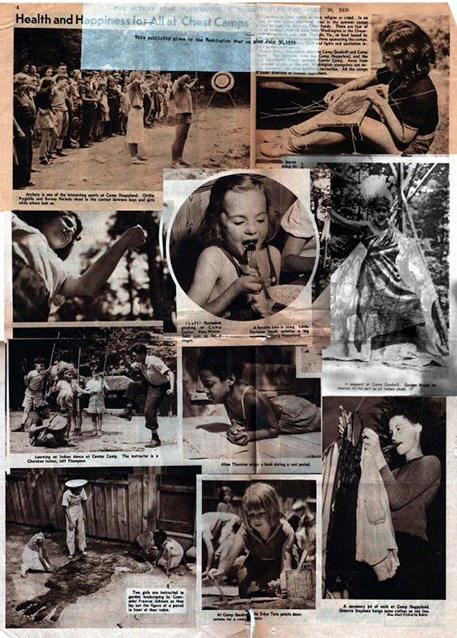 A publicity poster for the all-white Chopawamsic camps depicting children engaged in various camp activities.