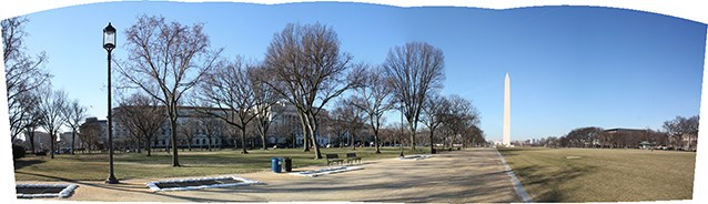 Benches and trees line a broad walkway, through a level turf area towards the Washington Monument.