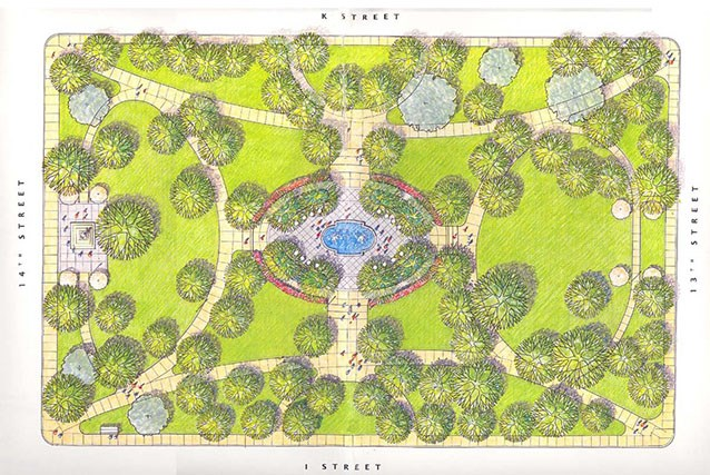 A site plan illustrates the circulation and major plantings of Franklin Square in 2005 It also shows major features, such as the central fountain and the Commodore Barry Memorial on the west end of the park.
