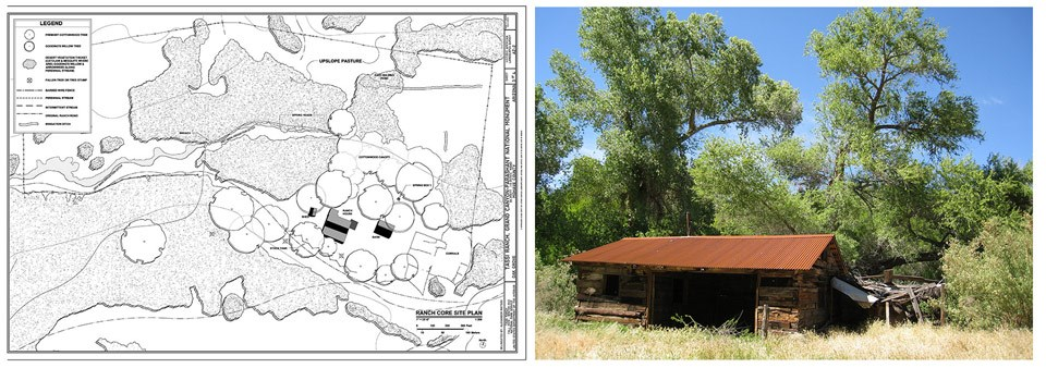 Tassi Ranch site plan and barn photo.