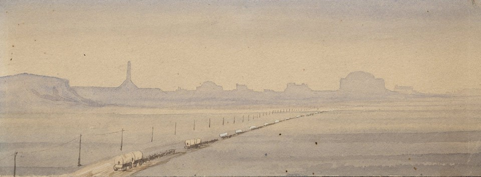 A hazy painting of a wagon train stretching into the distance toward bluffs.