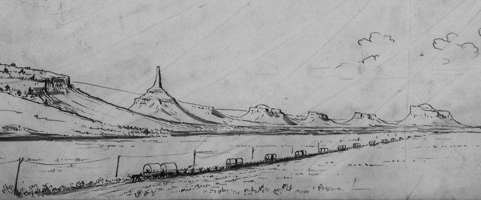 Ink drawing of wagon train crossing the plains towards rock formations.