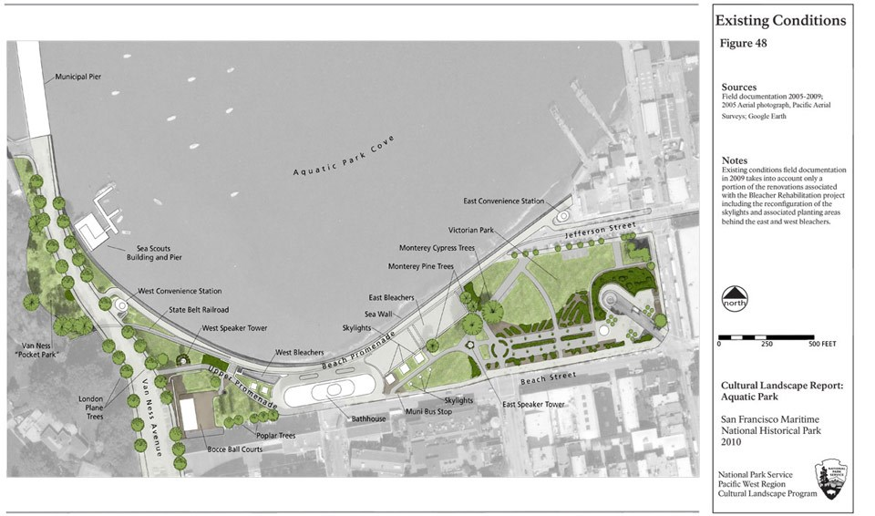 Site plan from the CLR shows current conditions at Aquatic Park.