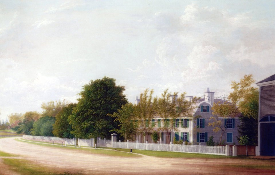 A painting of a two-story house, bordered by white fence, trees, and a road.