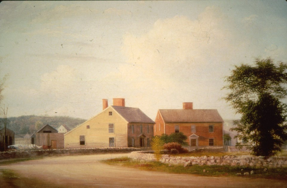 A painting of the Adams Birthplaces (ADAM )
