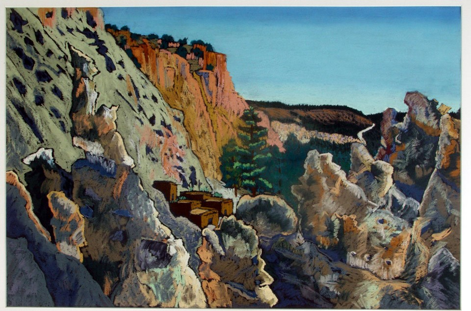 Colorful painting of a pueblo surrounded by canyon walls
