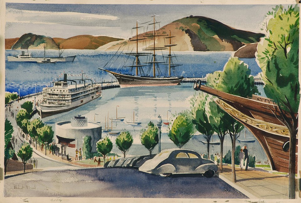 Painting of Aquatic Park, with trees, ships in the cove, and cars.