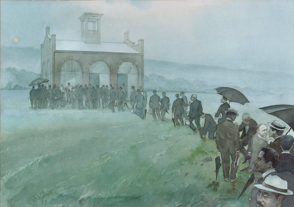 Painting showing a line of meeting delegates, with suits and umbrellas, crossing a field to gather in front of a small building.
