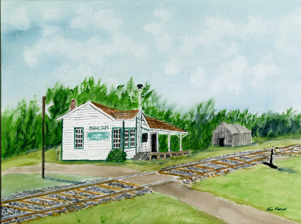 Painting of the Plains Depot beside railroad tracks
