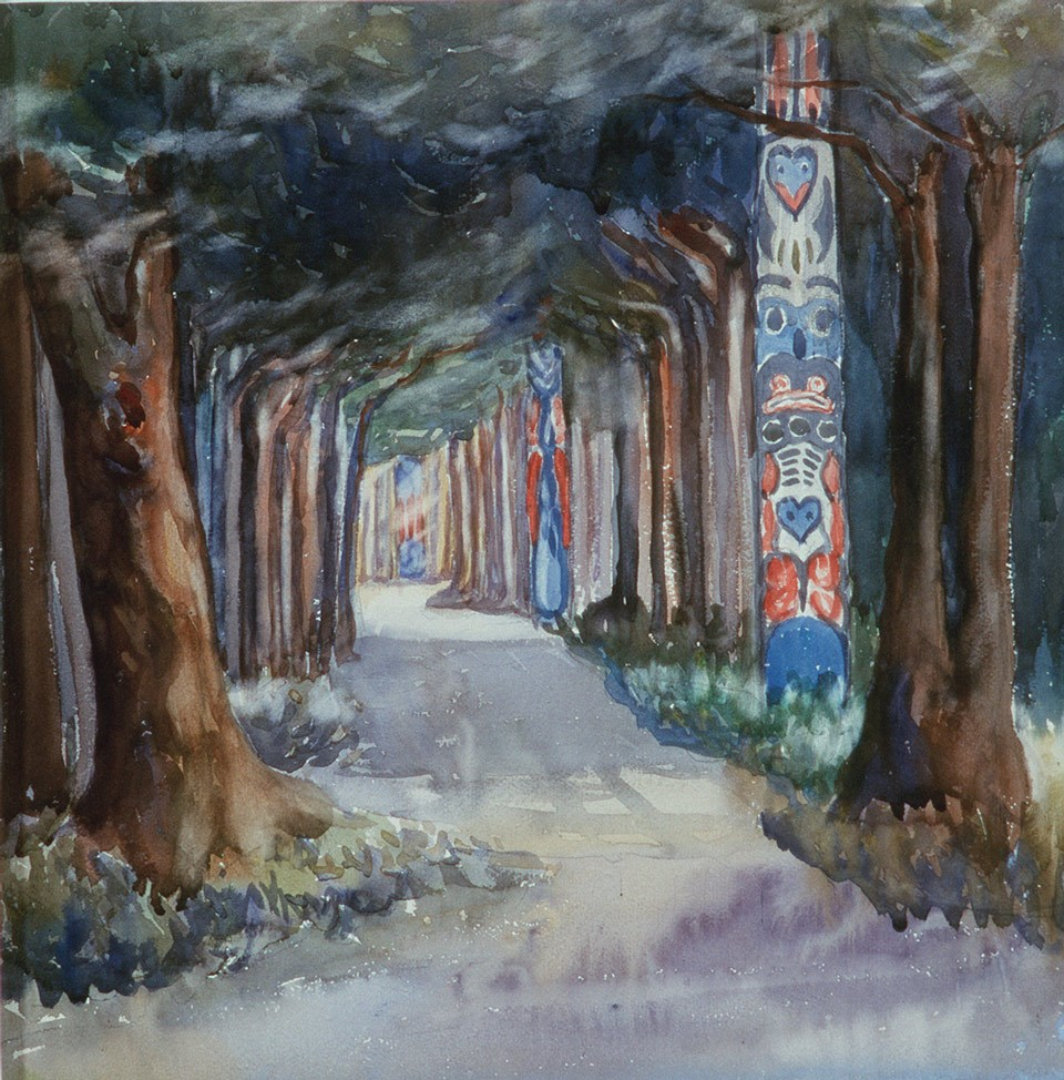 Colorful watercolor of a trail through a forest with totem poles.
